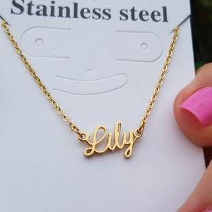 "Jewelry - Custom ""Lily"" Nameplate Necklace Gold Plated"